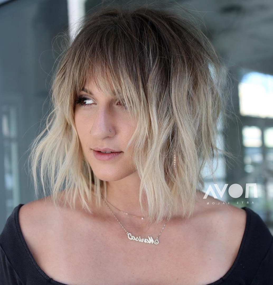 The Most Instagrammable Hairstyles With Bangs In 2019 Inside Favorite Golden Bronde Razored Shag Haircuts For Long Hair (View 12 of 20)