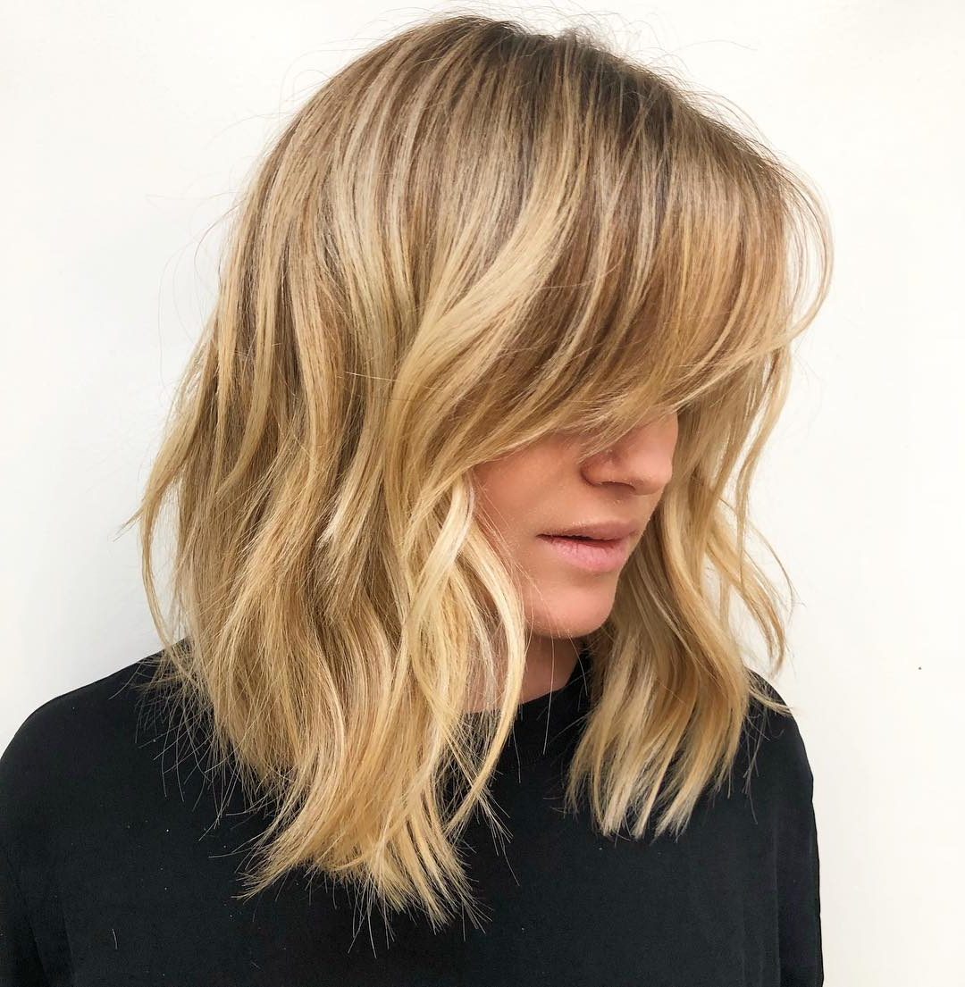 The Most Instagrammable Hairstyles With Bangs In 2019 Throughout Golden Bronde Bob Hairstyles With Piecey Layers (View 6 of 20)