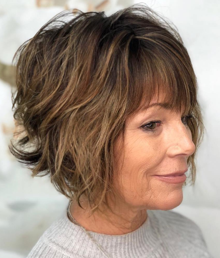 The Most Instagrammable Hairstyles With Bangs In 2019 With Regard To Short Shaggy Brunette Bob Hairstyles (View 15 of 20)
