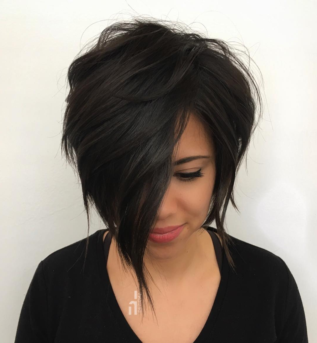 Trending Short Layered Haircuts In 2019 In Steeply Angled Razored Asymmetrical Bob Hairstyles (View 19 of 20)