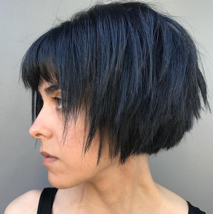 Trending Short Layered Haircuts In 2019 Throughout Razored Shaggy Bob Hairstyles With Bangs (View 5 of 20)