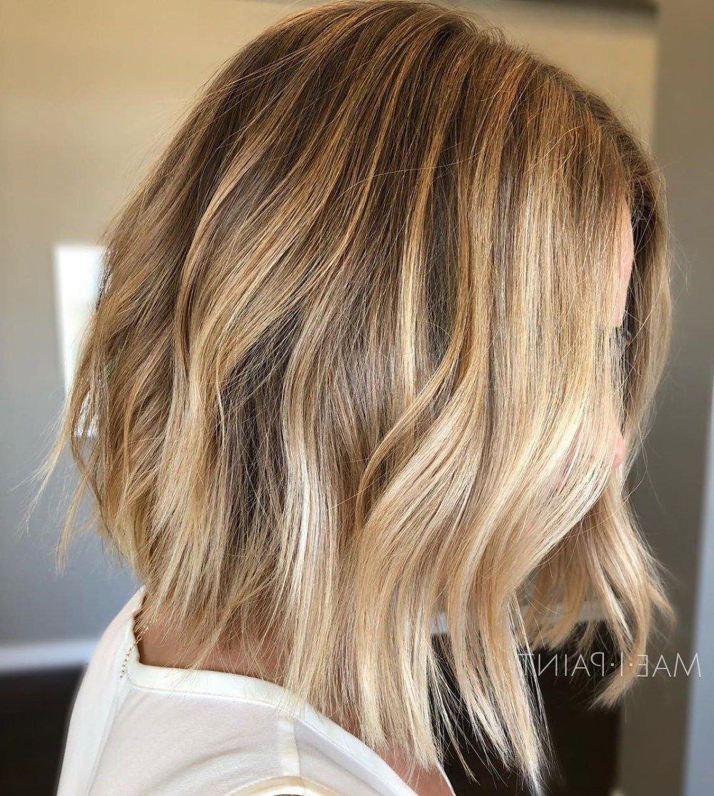Trendy Honey Bronde Shaggy Hairstyles With Bangs Regarding 60 Beautiful And Convenient Medium Bob Hairstyles In (View 3 of 20)