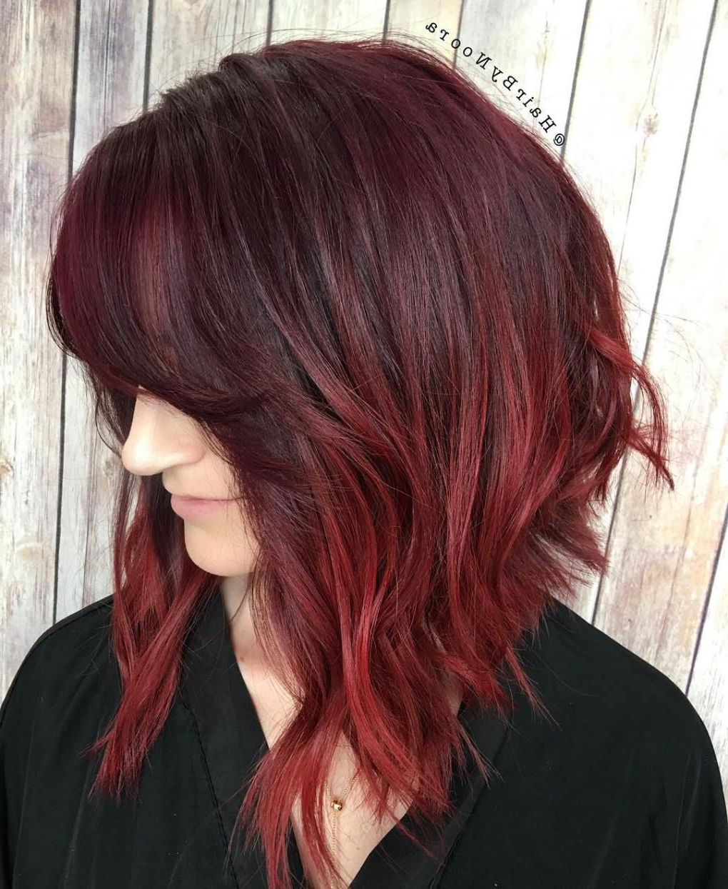 Trendy Jagged Red Ombre Hairstyles With 20 Ways To Make A Long Inverted Bob All Your Own (View 2 of 20)
