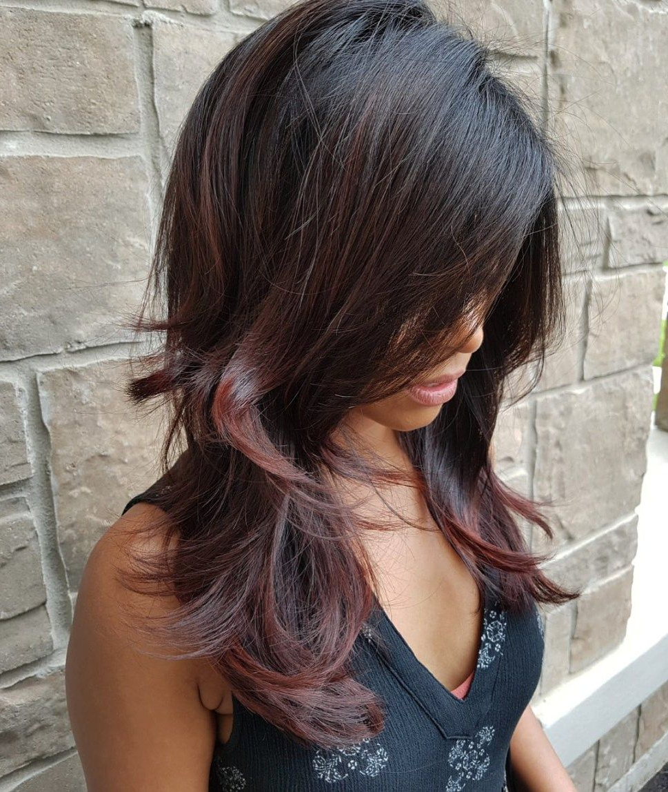 Trendy Layered And Tousled Brunette Hairstyles Within 50 Cute And Effortless Long Layered Haircuts With Bangs (View 3 of 20)