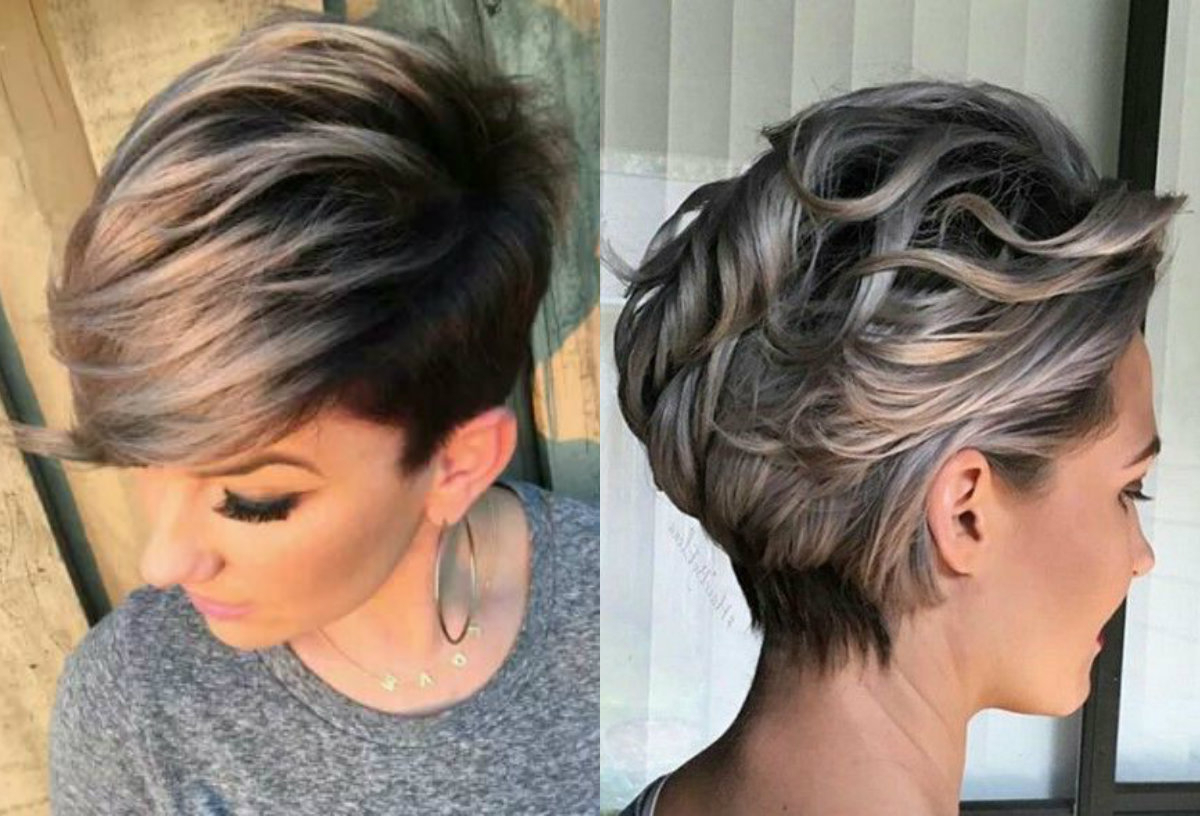Vivacious Short Pixie Haircuts With Highlights | Hairdrome Regarding Dark Pixie Hairstyles With Cinnamon Streaks (Gallery 3 of 20)