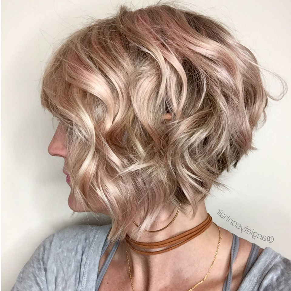 Wavy Inverted Bob With A Hint Of Pink In 2019 | Short Hair Inside Short Sliced Inverted Bob Hairstyles (View 20 of 20)