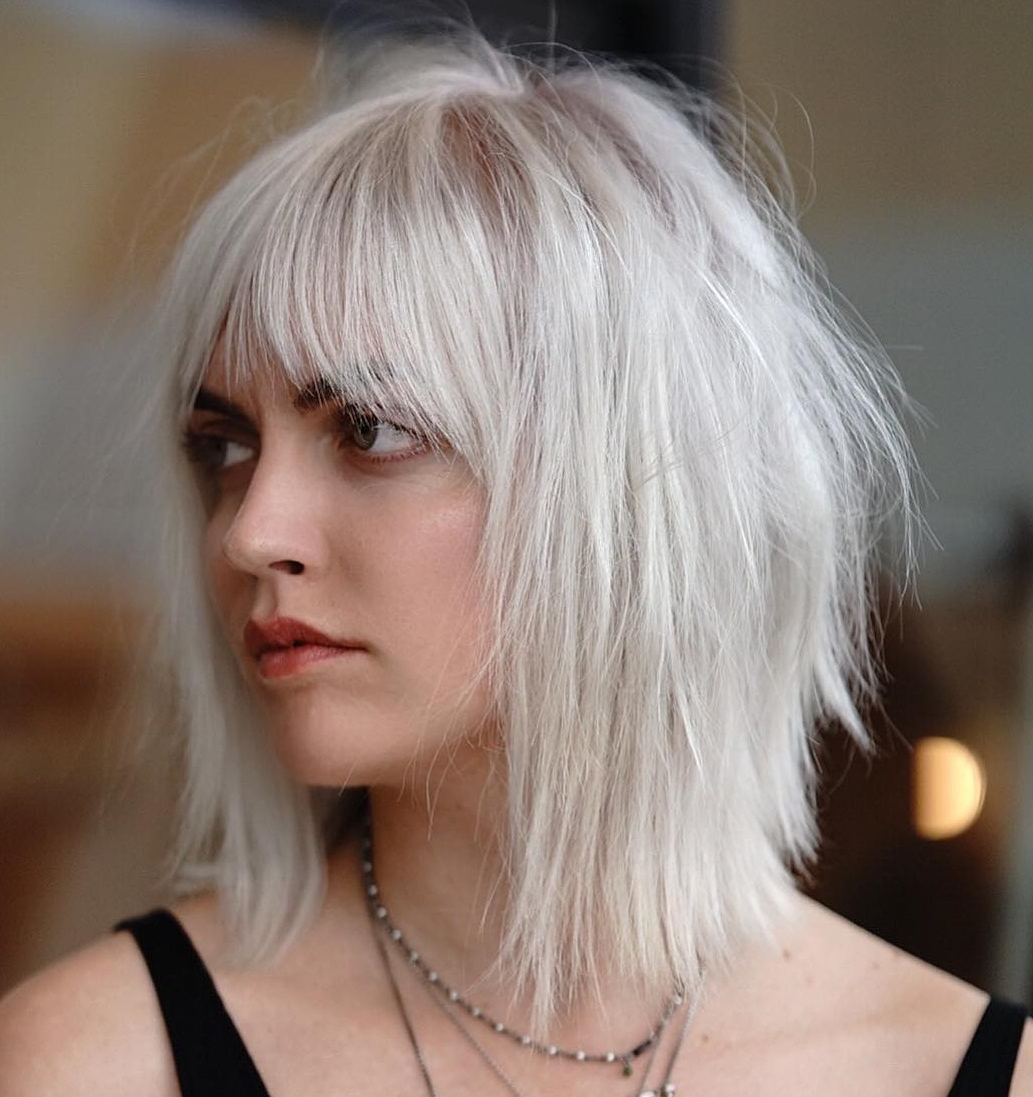 Well Known Mid Length Light Blonde Shag Haircuts With Bangs Regarding How To Pull Off Medium Length Haircuts And Hairstyles In 2019 (Gallery 16 of 20)