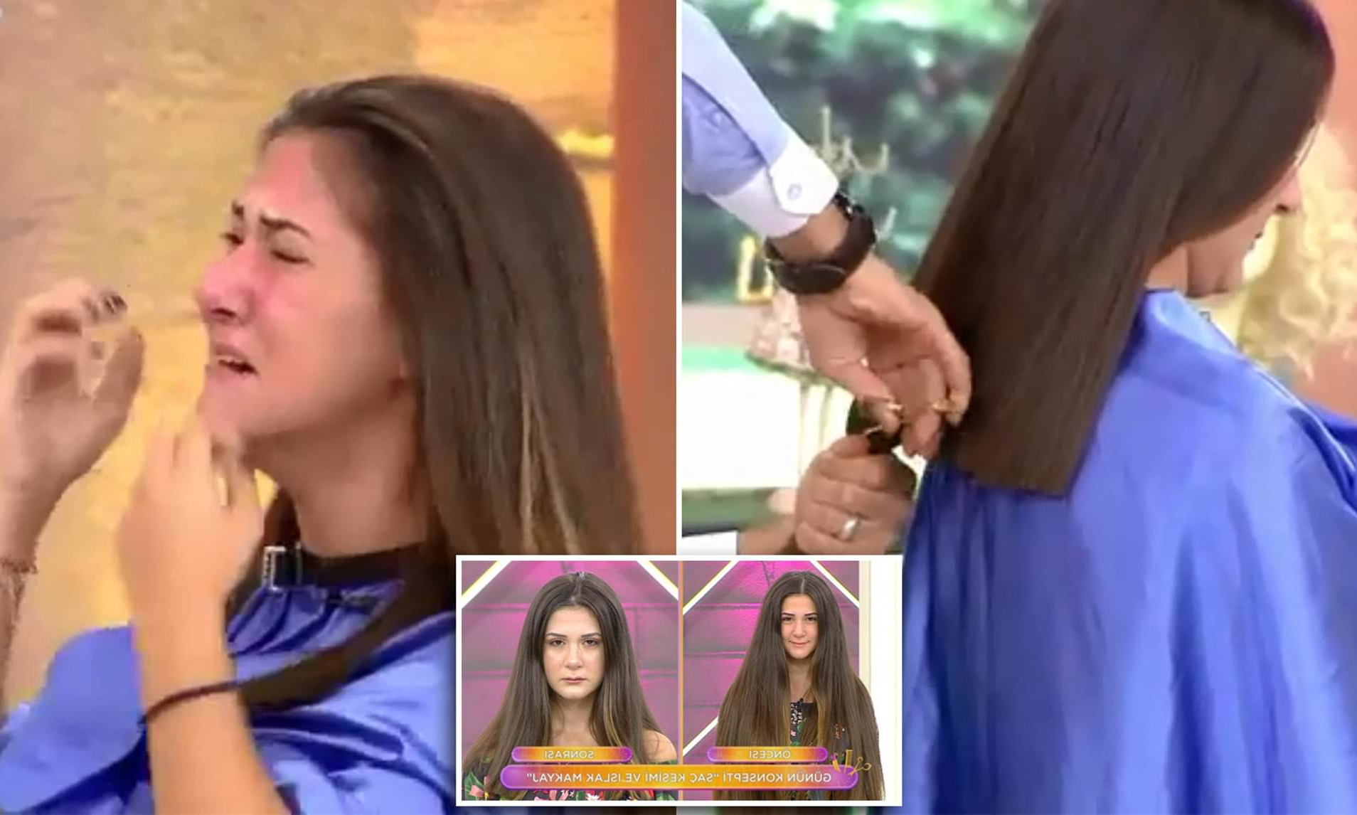 """Well Liked Long Black Haircuts With Light Flipped Up Ends In Woman Faints On Turkish Tv Show As Hairdresser Cuts 12"""" From (View 16 of 20)"""