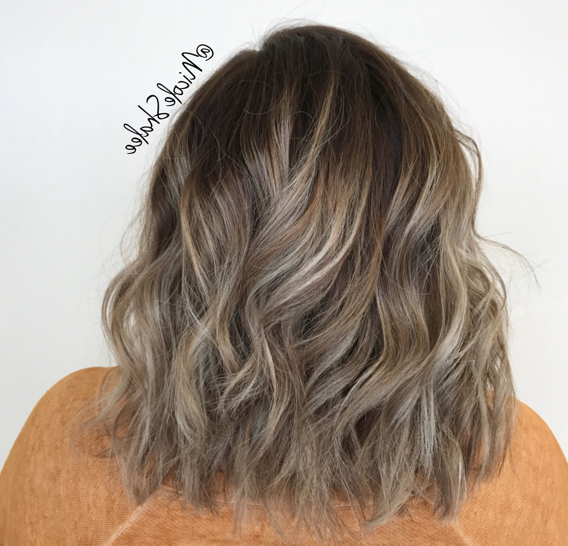 Well Liked Textured Bronde Bob Hairstyles With Silver Balayage Inside Shadow Root, Smudge Root, Balayage, Warm Highlights, Long (Gallery 5 of 20)