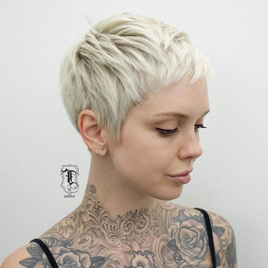 Widely Used Edgy Platinum Feathered Shag Haircuts Pertaining To 50 Images To Choose A Cool Choppy Pixie Haircut – Hair (View 20 of 20)