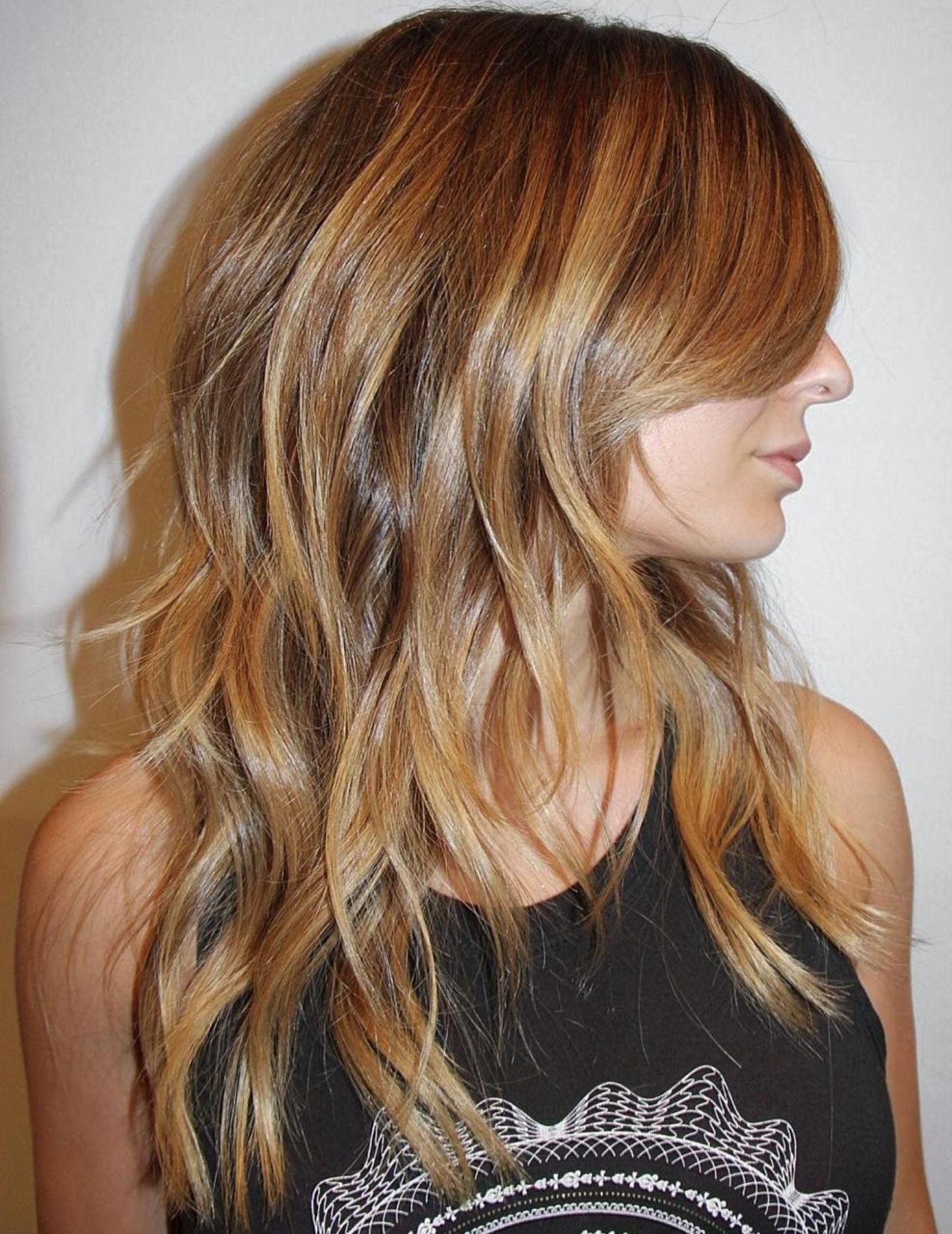 Featured Photo of Shiny Caramel Layers Long Shag Haircuts