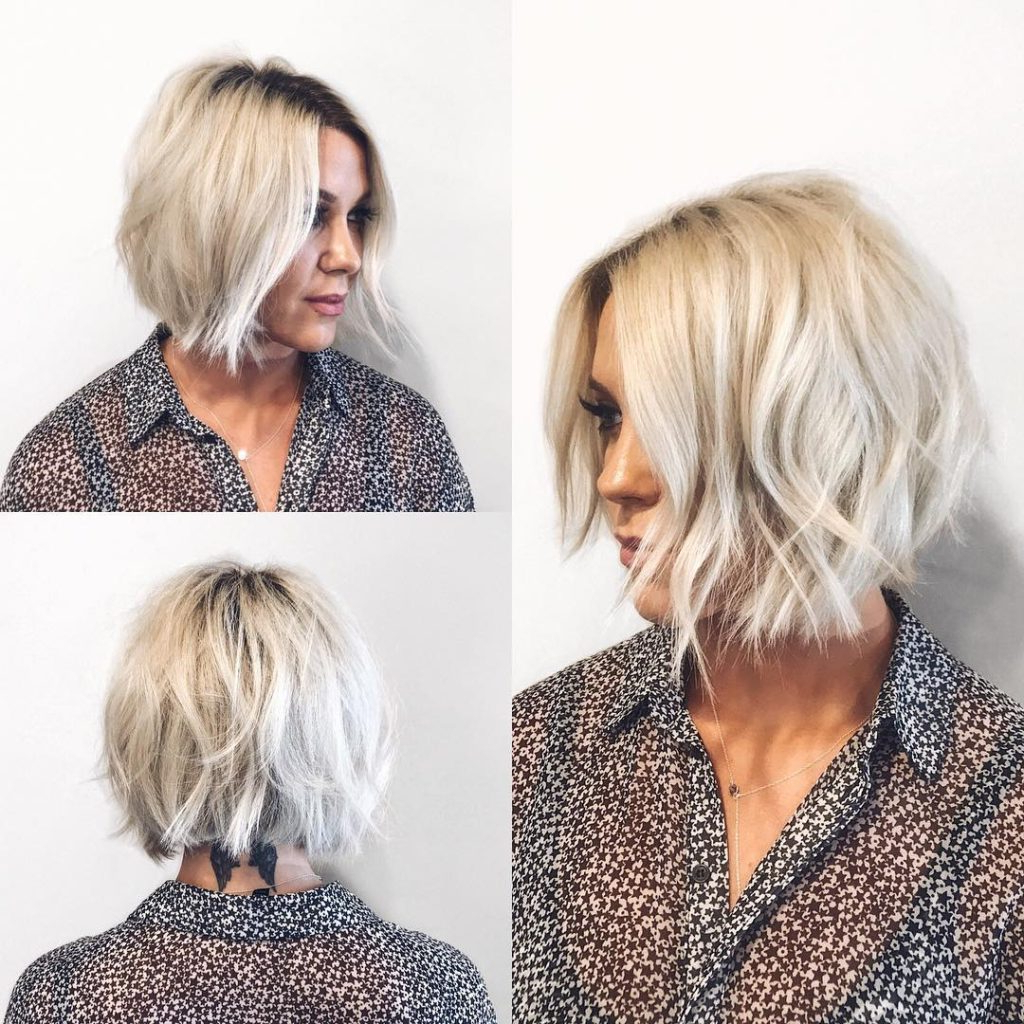Women's Choppy Platinum Bob With Undone Texture And Shadow Pertaining To Choppy Blonde Bob Hairstyles With Messy Waves (Gallery 20 of 20)