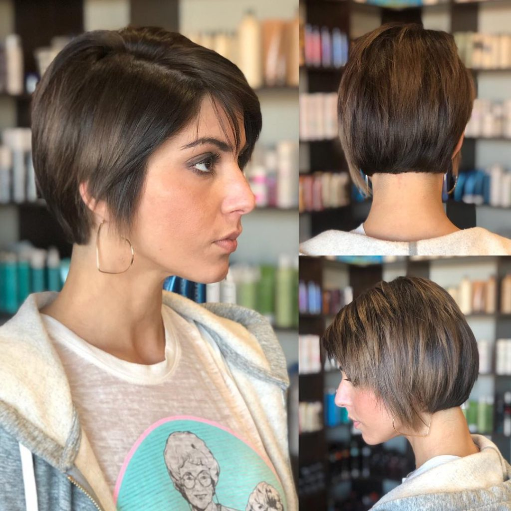 Women's Layered Razor Cut Pixie With Straight Texture And Regarding Well Known Brunette Razor Haircuts With Bangs (View 8 of 20)