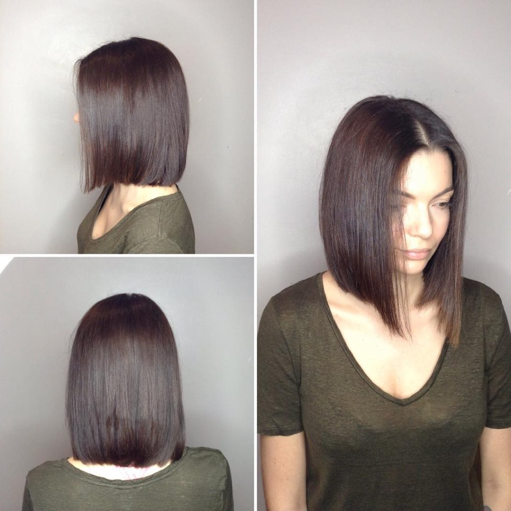 Women's Long Blunt Bob With Center Part And Warm Brunette Intended For Sleek Blunt Brunette Bob Hairstyles (View 6 of 20)