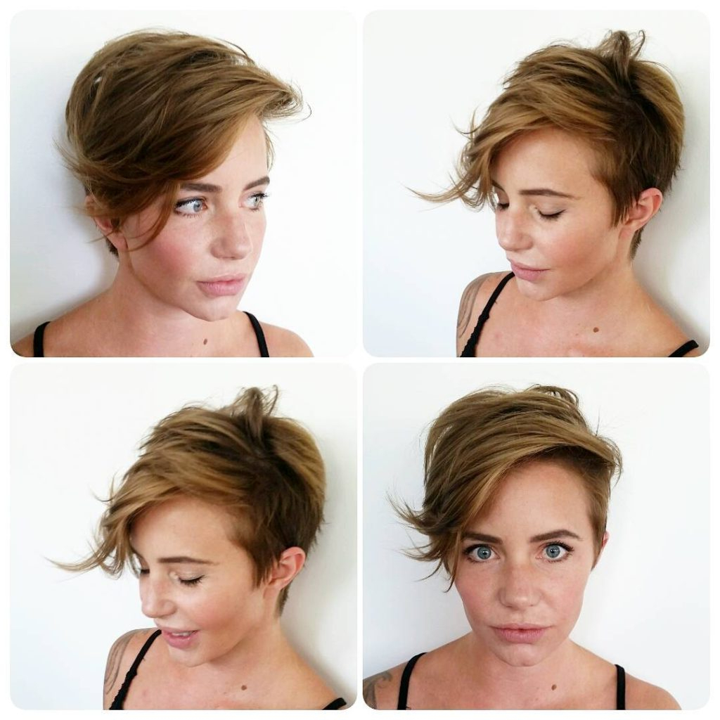Women's Messy Asymmetric Pixie With Long Side Swept Fringe Throughout Asymmetrical Side Sweep Hairstyles (View 17 of 20)