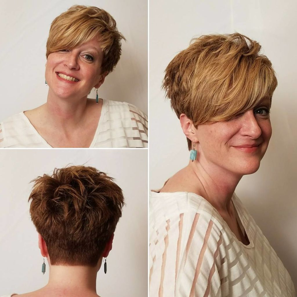 Women's Textured Tousled Pixie Cut With Long Asymmetrical Within Asymmetrical Side Sweep Hairstyles (View 13 of 20)