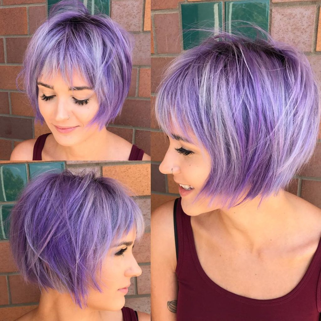 Women's Undone Shaggy Bob With Fringe Bangs And Lilac Color Regarding Short Shag Haircuts With Purple Highlights (View 20 of 20)