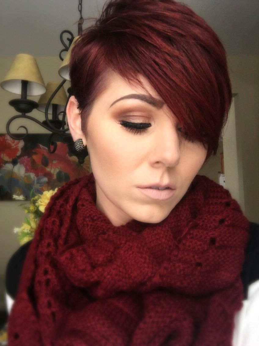 2017 Plum Brown Pixie Haircuts For Naturally Curly Hair Within Red Violet Pixie (View 7 of 20)