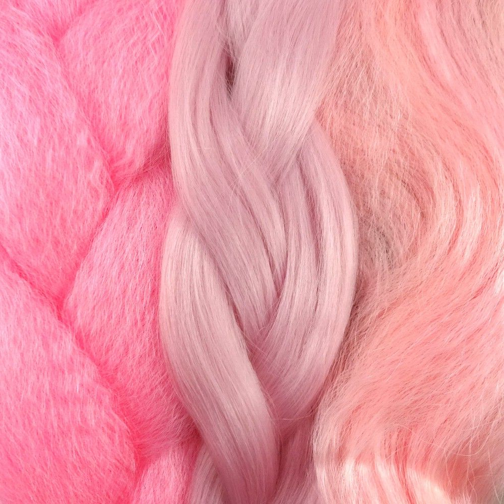 2019 Baby Pink Braids Hairstyles Regarding Kanekalon Color Comparison From Left To Right: Pastel Pink (View 2 of 20)