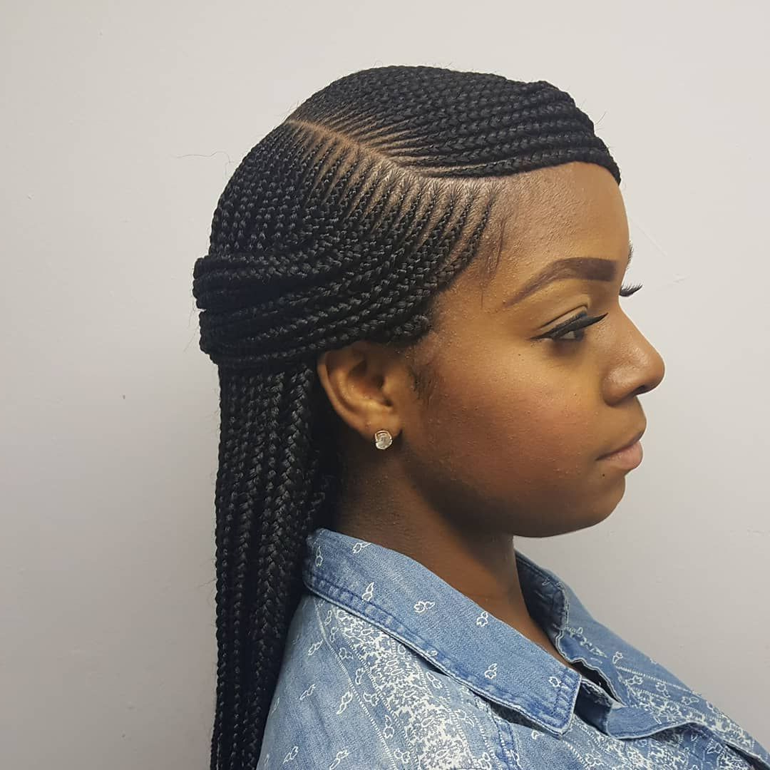 2019 Micro Braids Hairstyles In Side Fishtail Braid With Regard To Side Part Box Braids #braids #njbraids #njhairstylist (View 4 of 20)