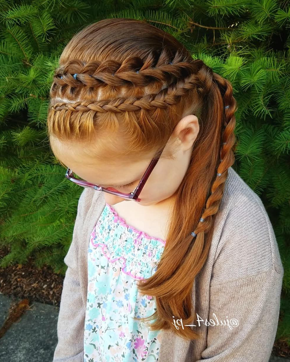 2019 Three Strand Pigtails Braid Hairstyles Throughout Pull Through Braids. Three Strand Pull Through (View 7 of 20)