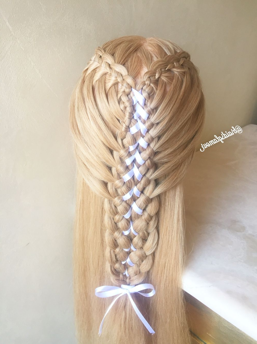 2020 Corset Braid Hairstyles Inside Four Strand Waterfall Braids Into Corset Braid (View 10 of 20)