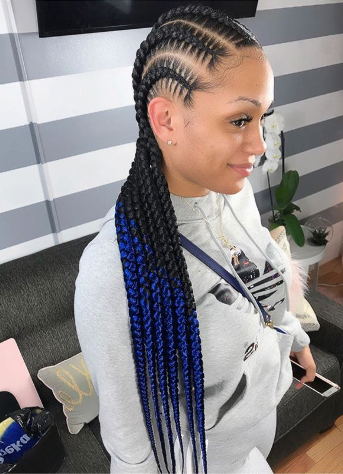 2020 Crisp Pulled Back Braid Hairstyles Pertaining To Obre Stitch Braids (View 1 of 20)
