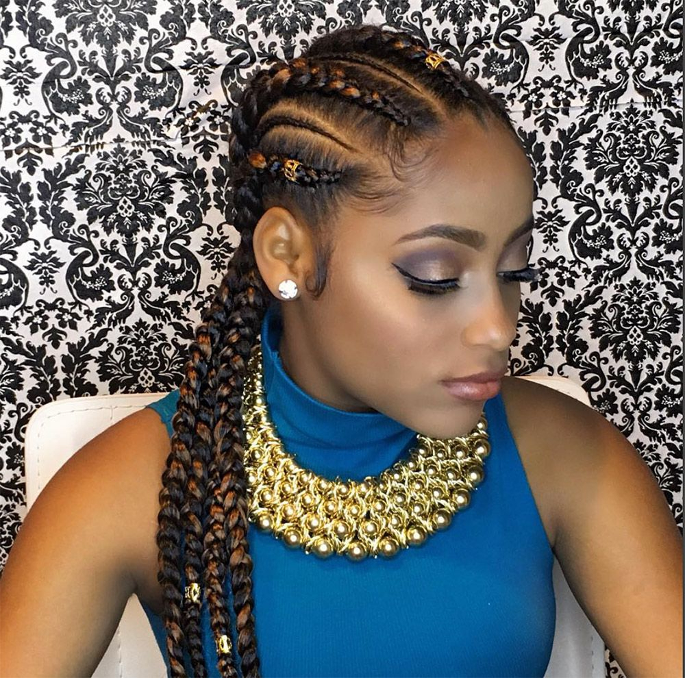 22 Next Level Goddess Braids To Inspire Your Look Inside Well Known Cornrow Accent Braids Hairstyles (View 3 of 20)