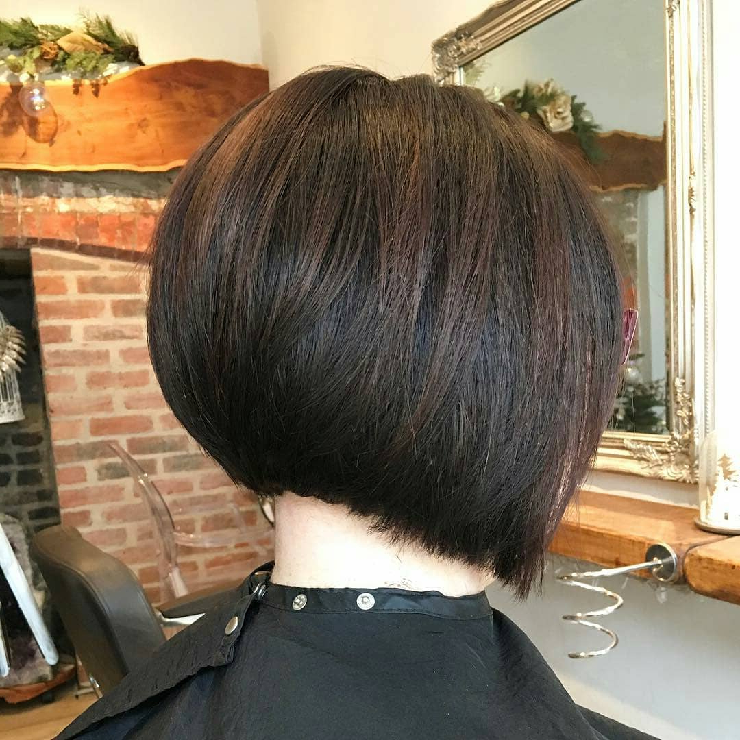30 Super Hot Stacked Bob Haircuts: Short Hairstyles For Intended For 2017 Modern Swing Bob Hairstyles With Bangs (Gallery 6 of 20)