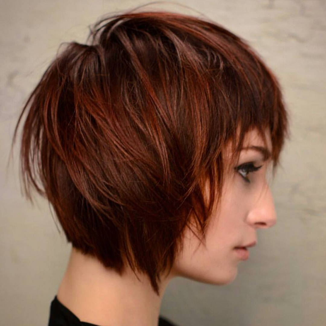 30 Trendy Short Hairstyles For Thick Hair 2020 Throughout Most Up To Date Wavy Asymmetrical Pixie Haircuts With Pastel Red (Gallery 9 of 20)