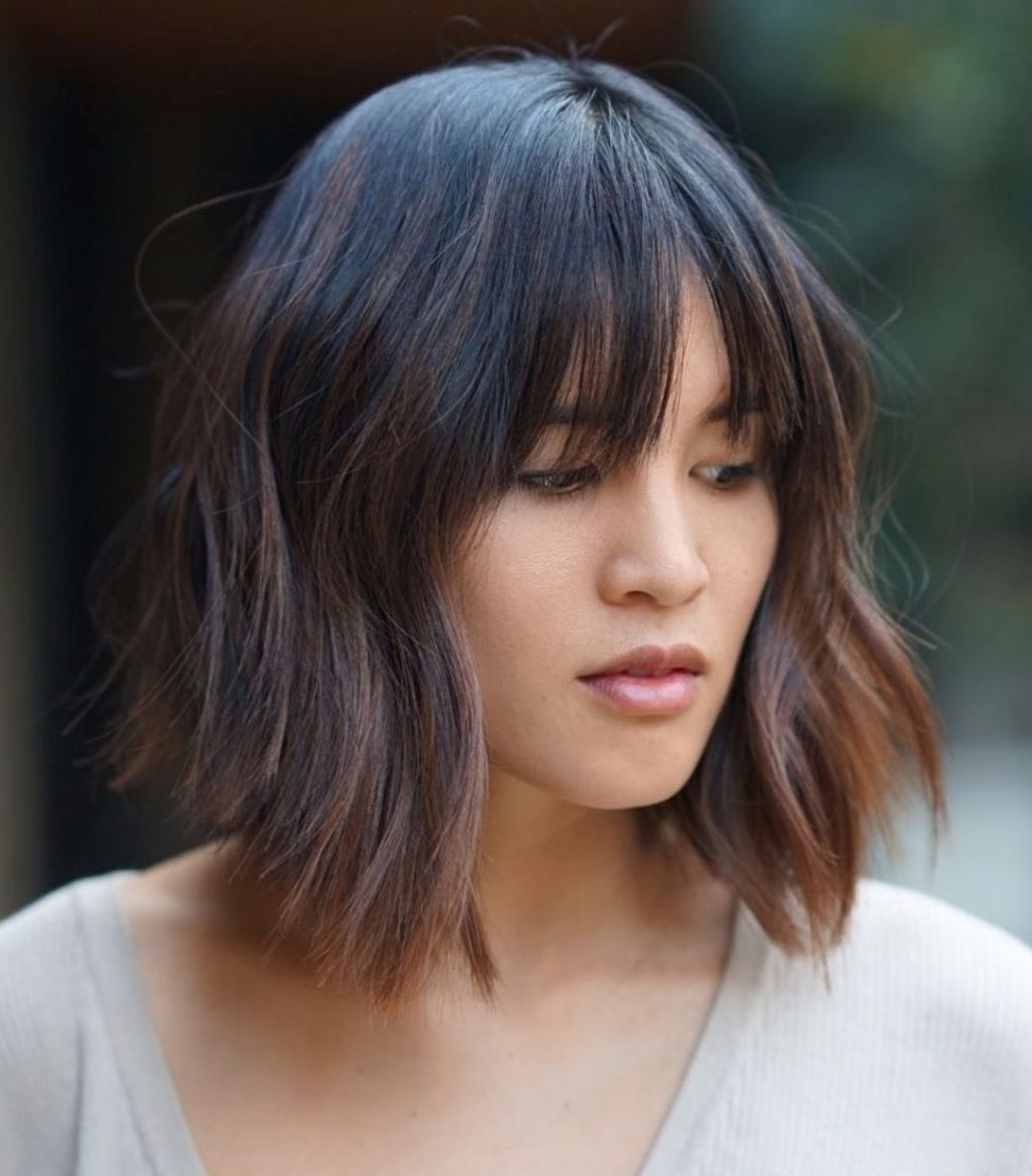 40 Medium Length Hairstyles For Thick Hair ⋆ Palau Oceans Intended For Well Known Shattered Choppy Bangs Pixie Haircuts (View 6 of 20)
