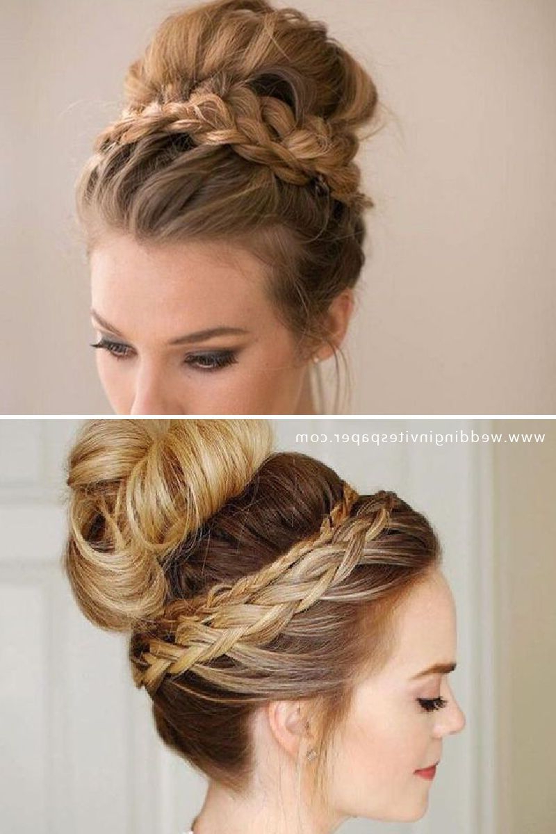 46 Unforgettable Wedding Hairstyles For Long Hair 2019 Within Most Current Modern Braided Top Knot Hairstyles (View 3 of 20)