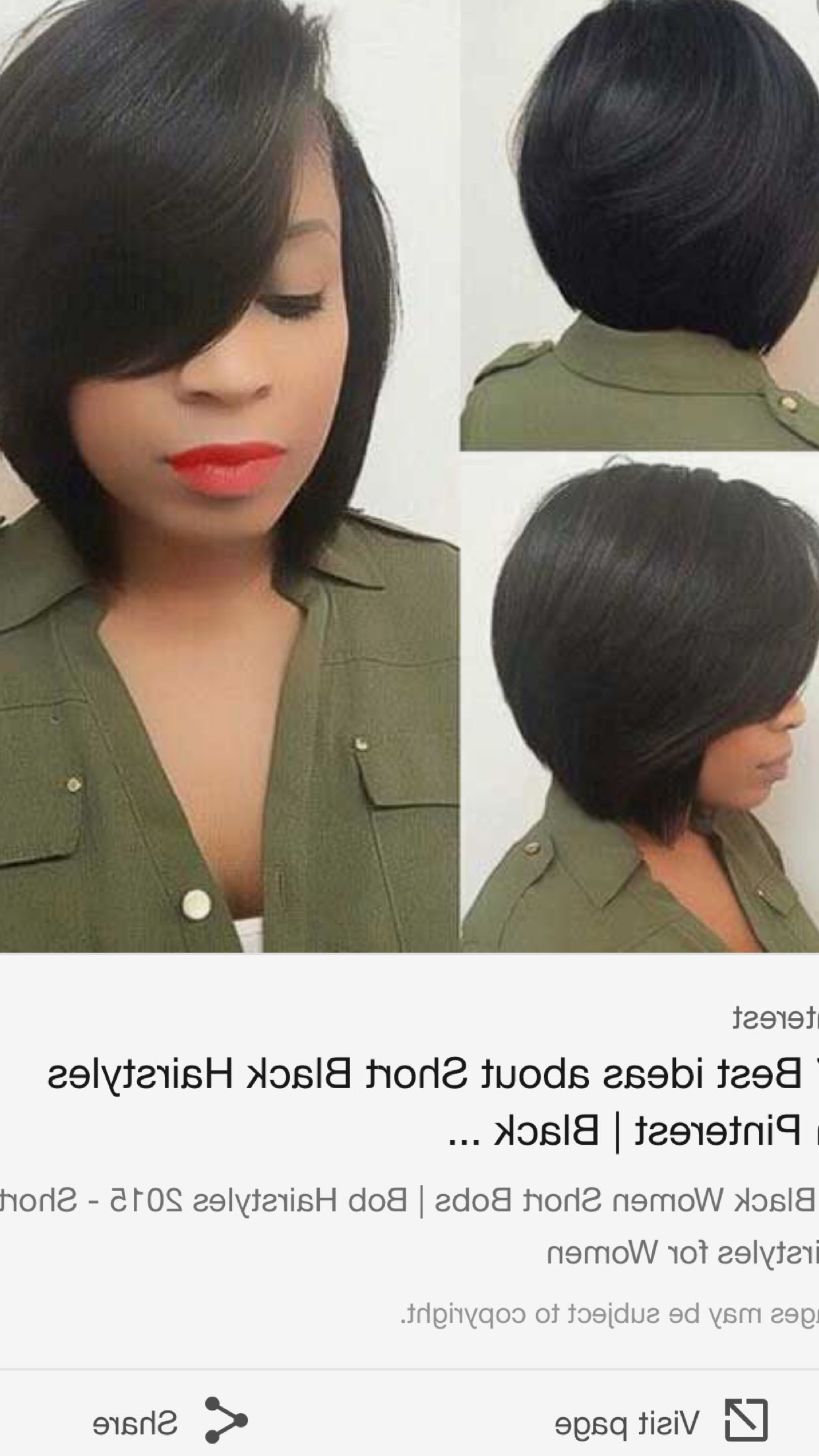 African American Bobs Throughout Newest Short Black Bob Hairstyles With Bangs (View 4 of 20)