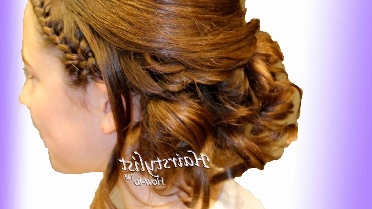 Asymmetrical Updo With Headband And Wrap Around French Braids (Hair Tutorial) – Youtube Regarding Current Asymmetrical French Braid Hairstyles (View 2 of 20)