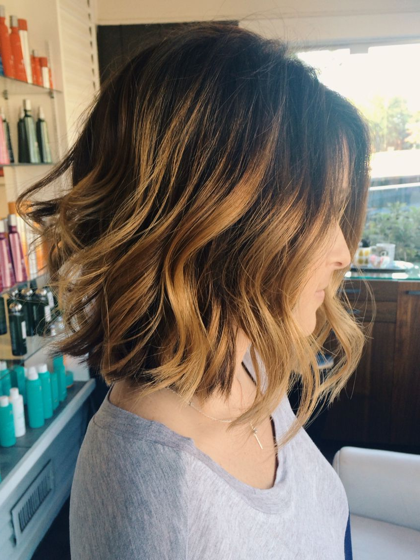 Balayage Color, Texturized Bob And Beach Waves (View 8 of 20)