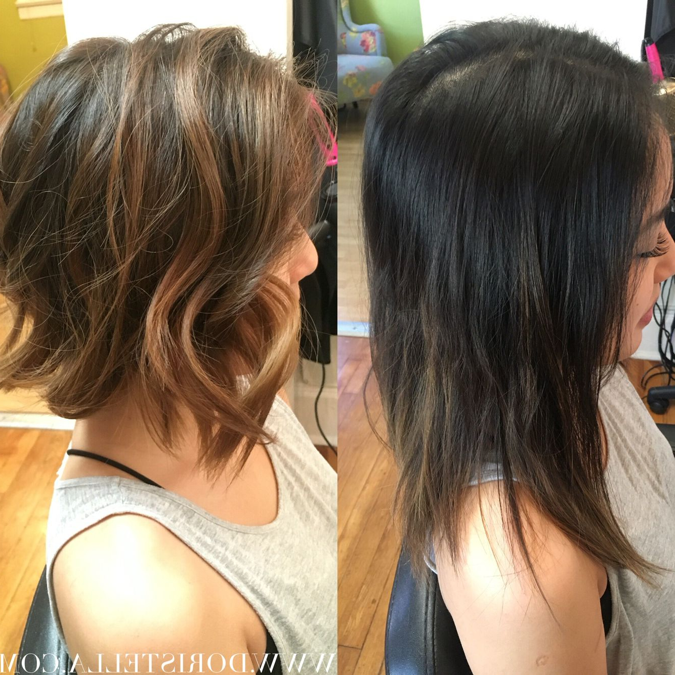 Before & After On My Asian Beauty! Bronde! Balayage With Regard To Latest Beach Wave Bob Hairstyles With Highlights (View 12 of 20)