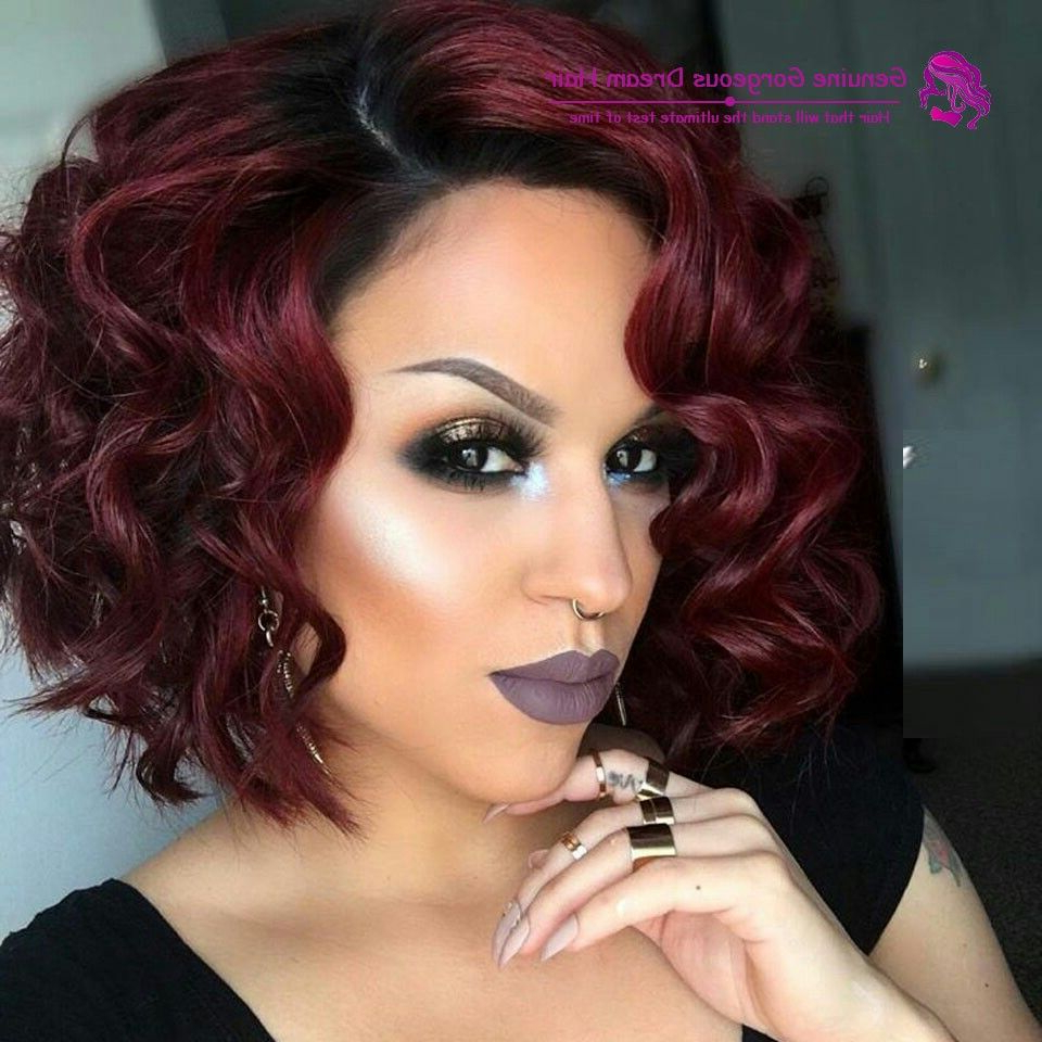 Black And Red Burgundy Plum Ombre Hair, Curly Bob (View 2 of 20)