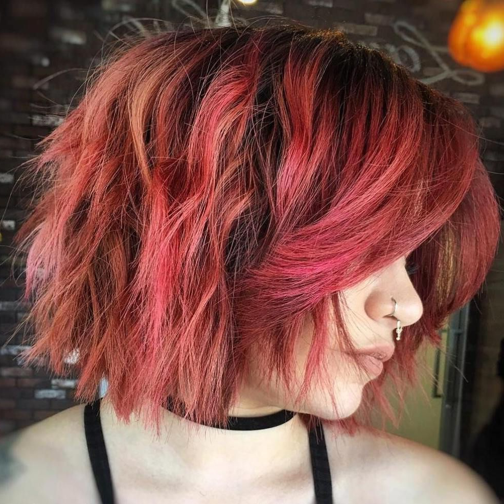 Bob Intended For Popular Wavy Asymmetrical Pixie Haircuts With Pastel Red (View 3 of 20)