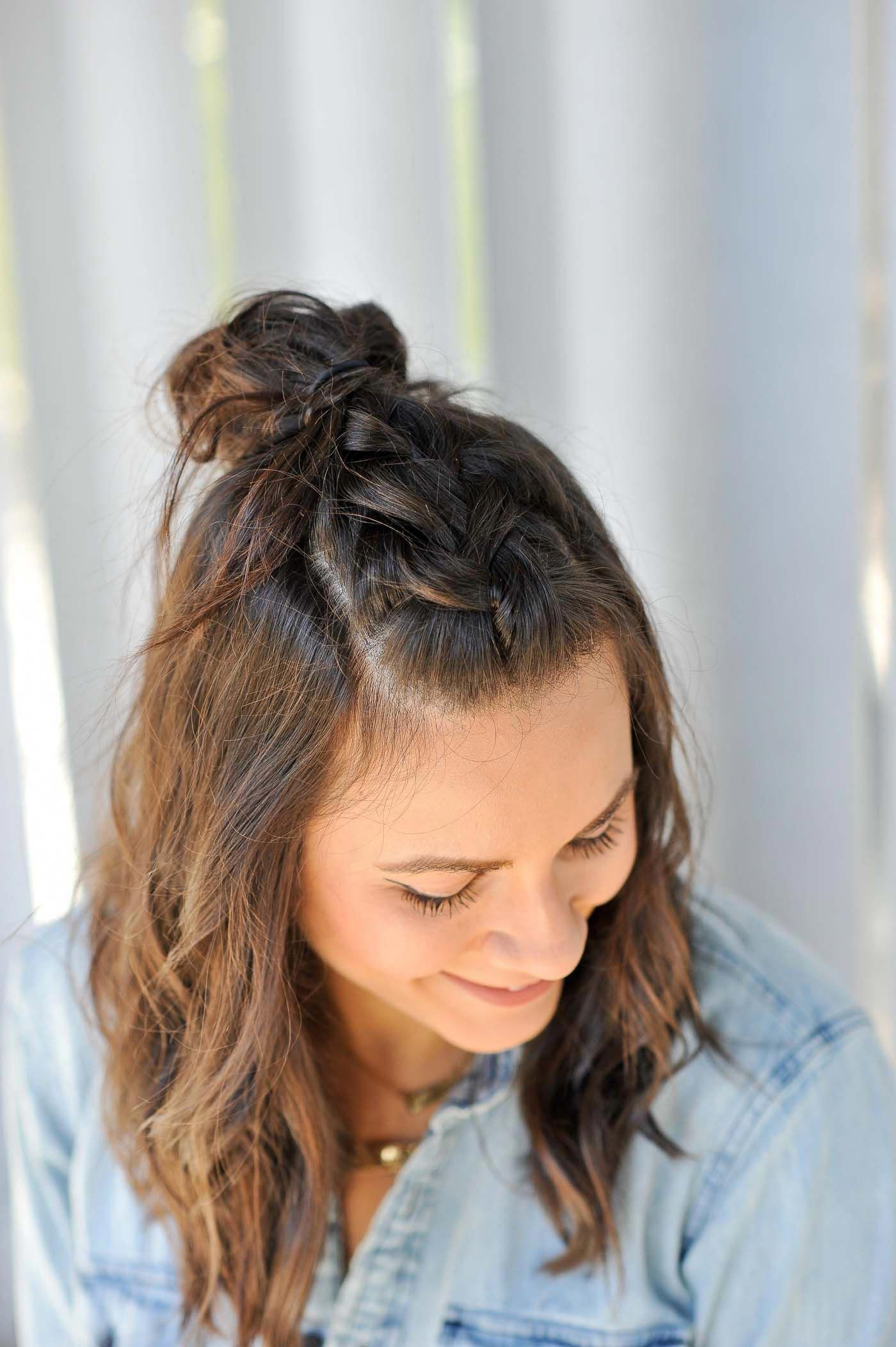 Braided Half Up Half Down Hairstyle, How To Do A Top Knot Inside Famous Half Braided Hairstyles (View 2 of 20)