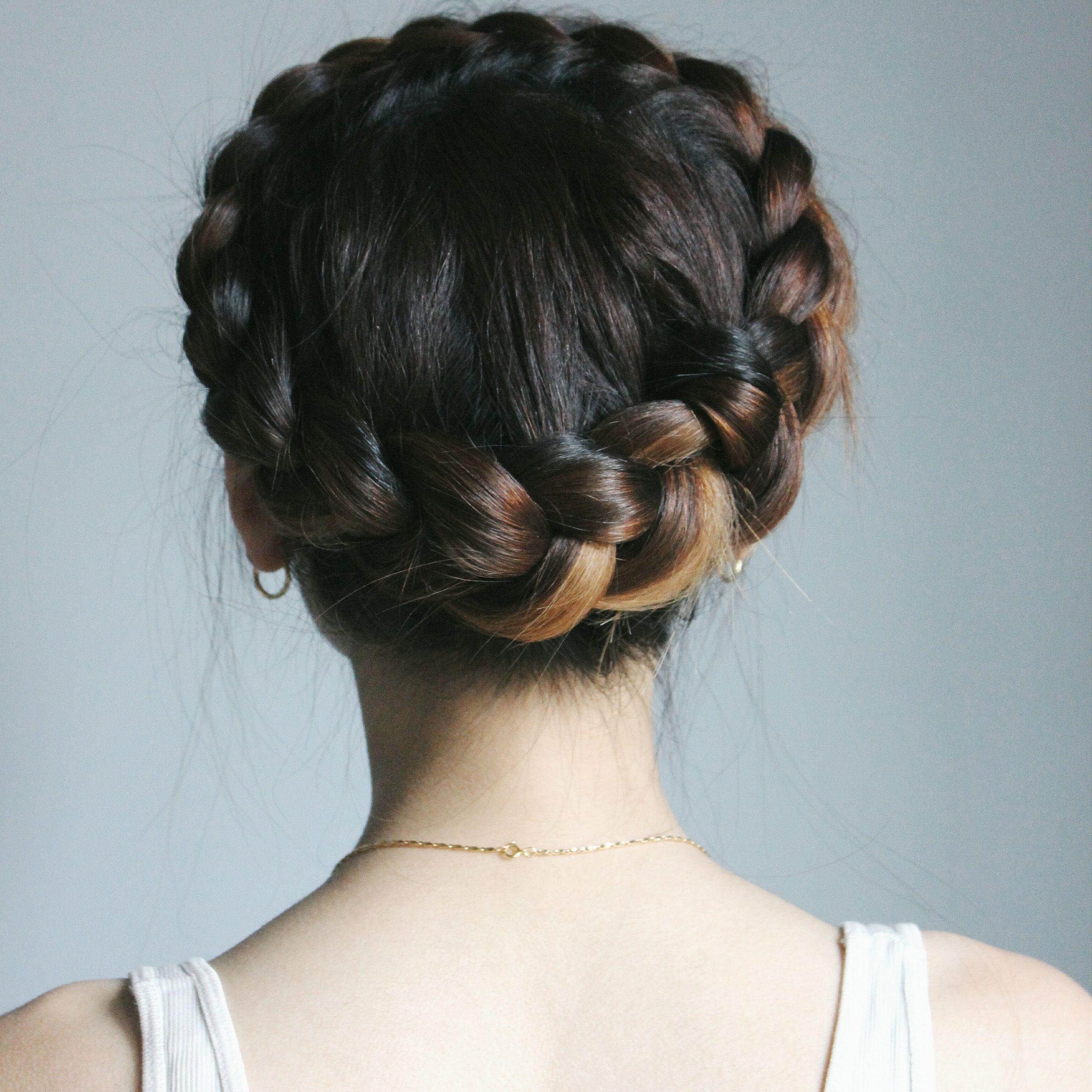 Braids For Short Regarding Trendy Milkmaid Crown Braids Hairstyles (View 4 of 20)