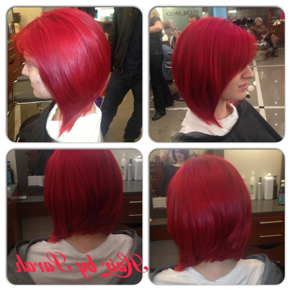 Bright Red Graduates Bob Haircut Sarah . (View 2 of 20)