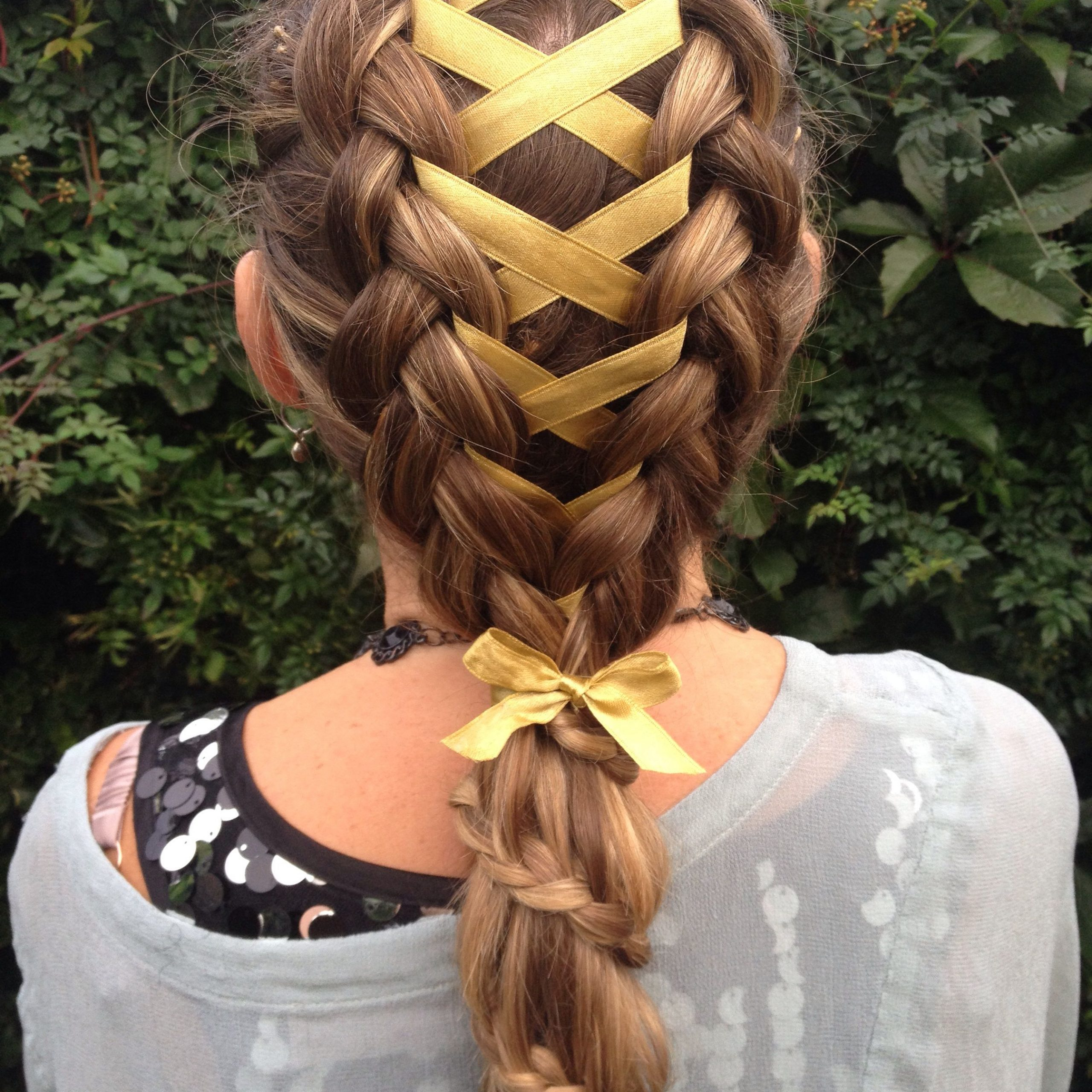 Corset Ribbon Braid Into A Carousel Braided Ponytail (View 3 of 20)