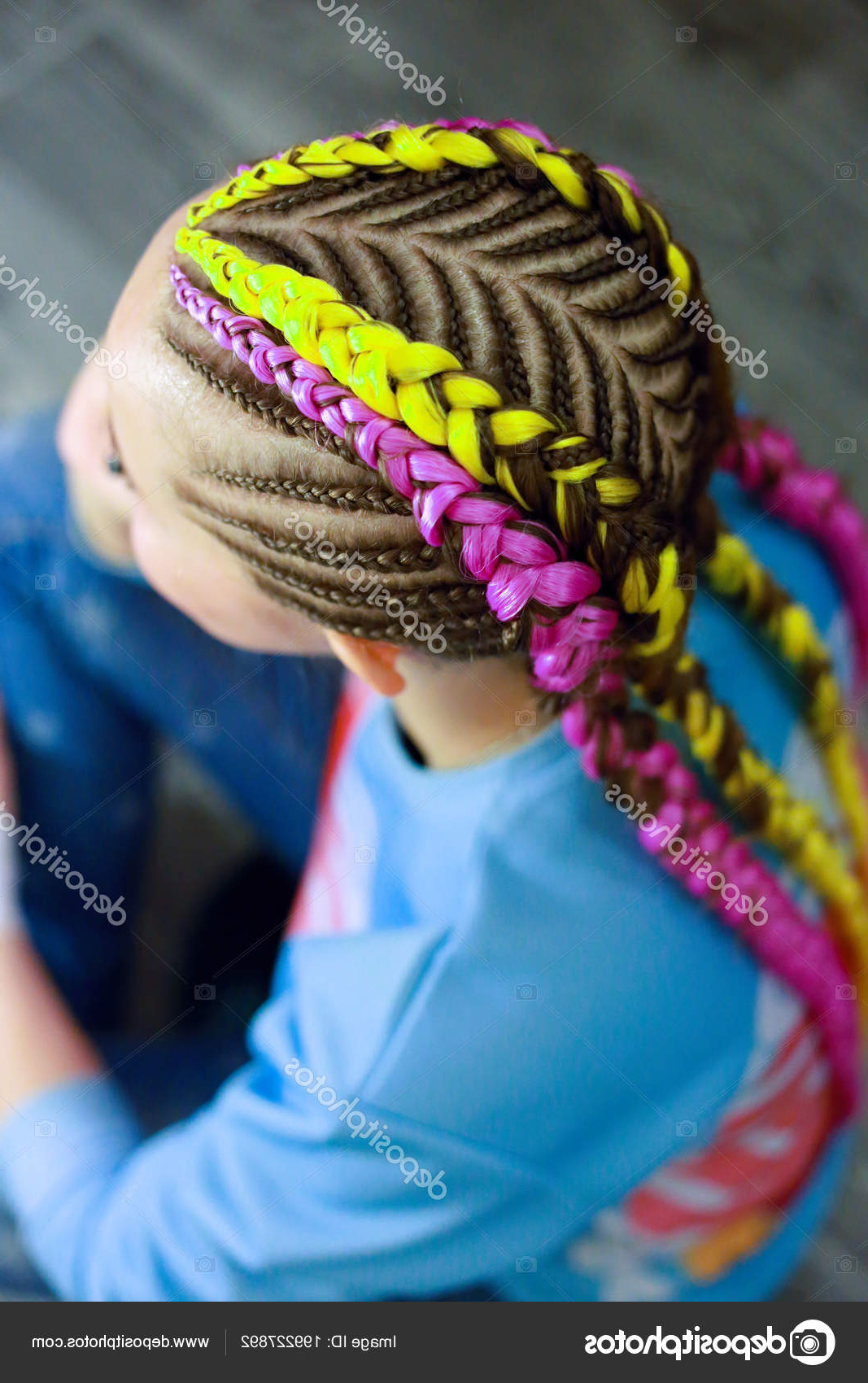 Creative Hairstyle Thin Thick Plaits Interweaving — Stock Inside 2019 Thick Plaits And Narrow Cornrows Hairstyles (View 15 of 20)