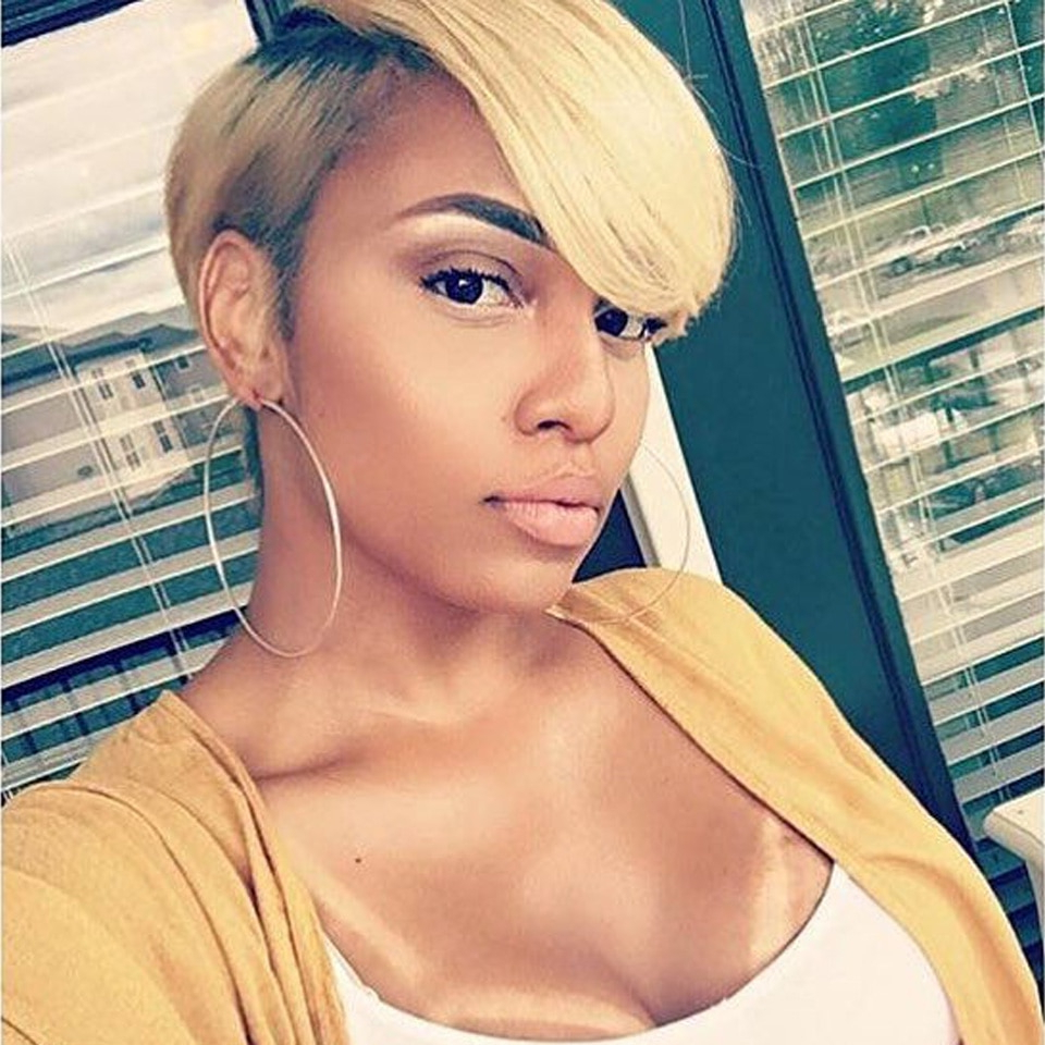 [%current Part Pixie Part Bob Hairstyles Pertaining To Us $27.77 49% Off|sleek Short Human Hair Wigs 100% Remy Brazilian Hair Wigs 613 Blonde Lace Wigs L Part Pixie Cut Wig 8 Inch Short Wigs 150% Wigs In|us $ (View 12 of 20)