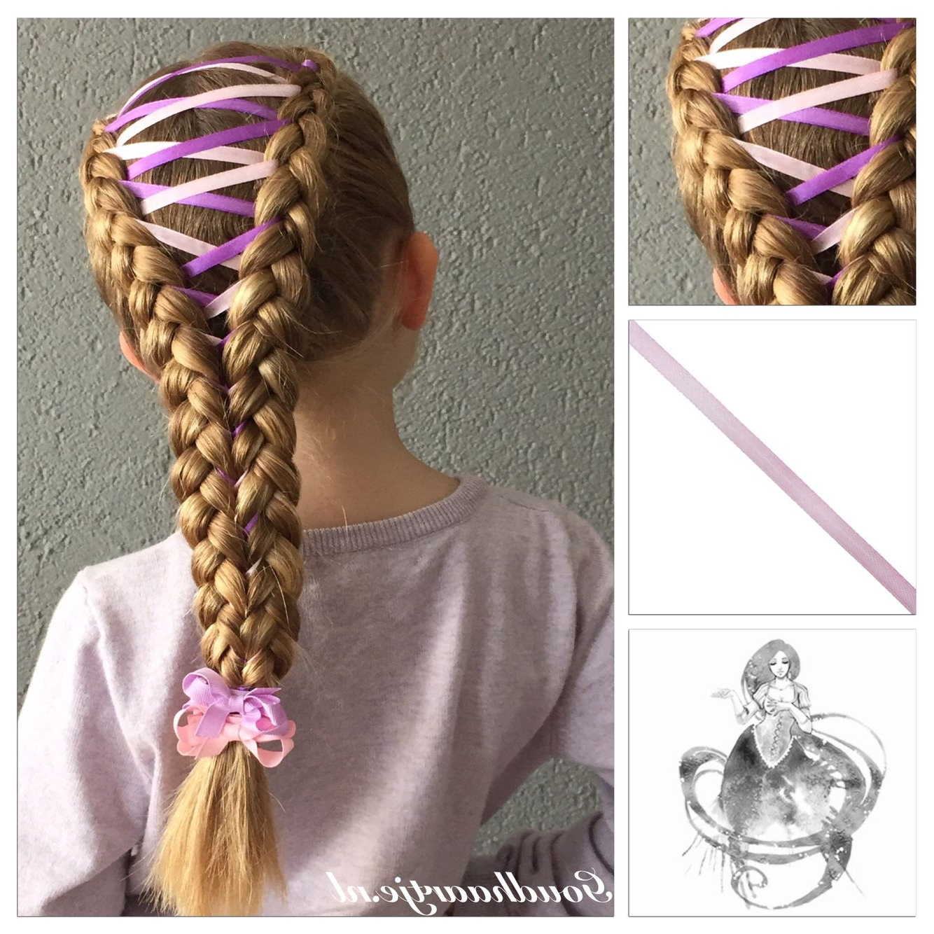Dutch Corset Braid With Two Colours Ribbon And Two Little With Well Known Corset Braid Hairstyles (Gallery 12 of 20)