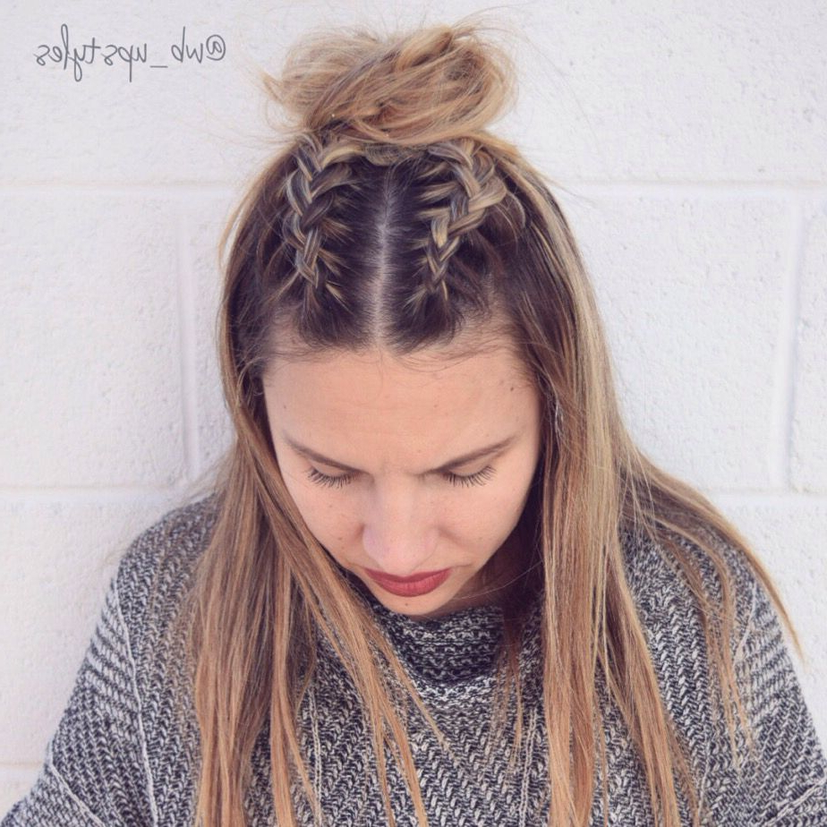 Famous Braided Topknot Hairstyles Pertaining To Double Dutch French Braid Top Knot (Gallery 2 of 20)