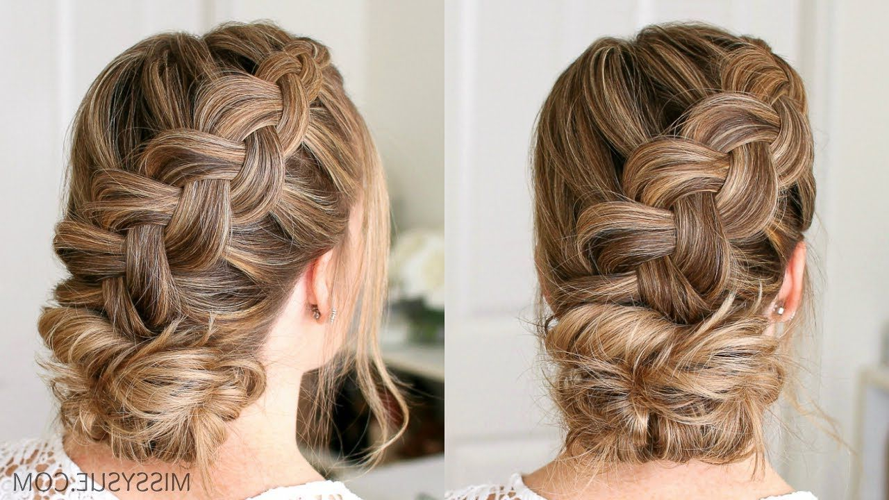 Famous Plaited Chignon Braid Hairstyles Regarding Dutch Braid And Low Bun (View 5 of 20)