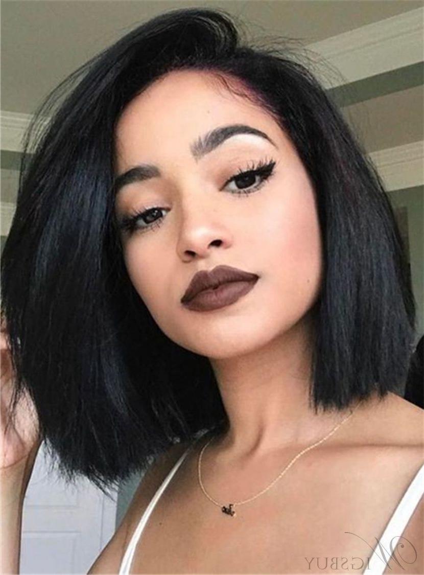 Fascinating Neat Smooth Shoulder Length Natural Human Hair Inside Most Popular Jet Black Chin Length Sleek Bob Hairstyles (View 4 of 20)