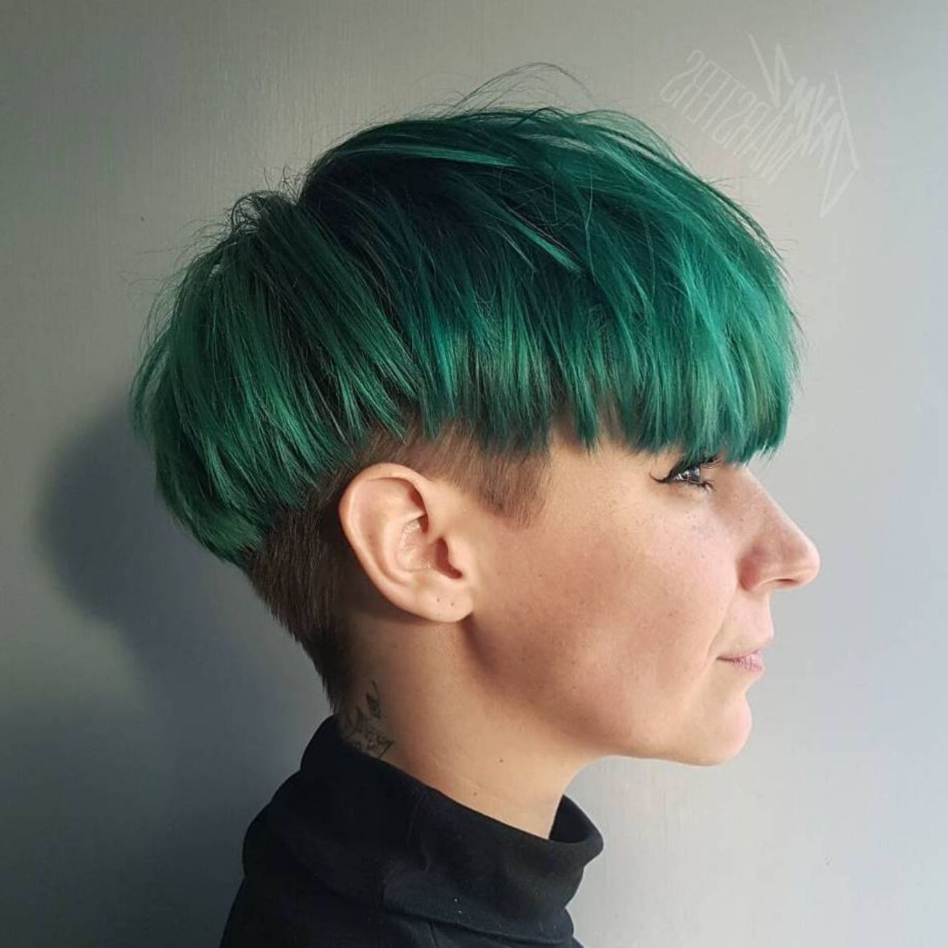 Featured Photo of Aqua Green Undercut Hairstyles