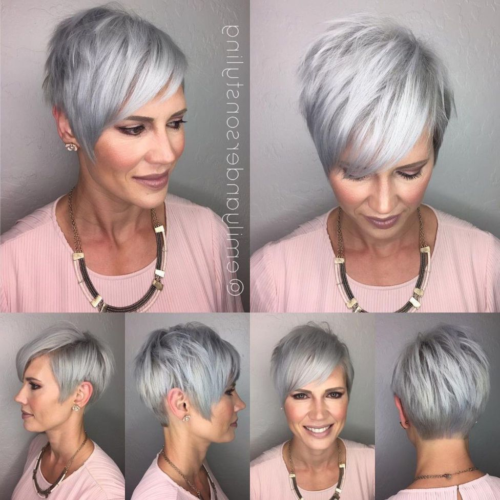 Fashionable Silver Pixie Haircuts With Side Swept Bangs Regarding 90 Classy And Simple Short Hairstyles For Women Over 50 In (View 9 of 20)